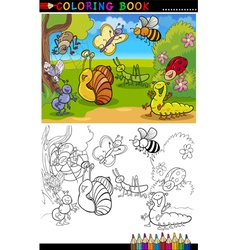 Insects and bugs for coloring book or page vector