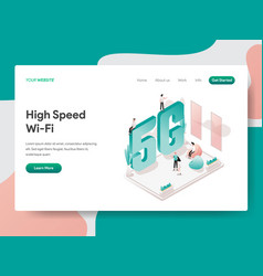 landing page template high speed wi-fi vector image