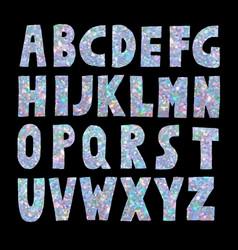 light blue glitter sparkling font vector image