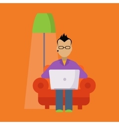 Man In The Armchair Working Freelance vector