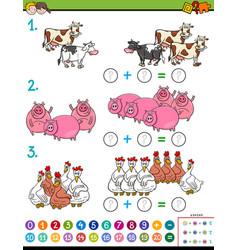 Maths addition educational task workbook vector