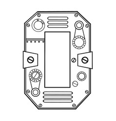 Mechanical number 0 engraving vector