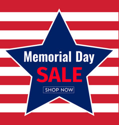 memorial day sale banner template design of vector image