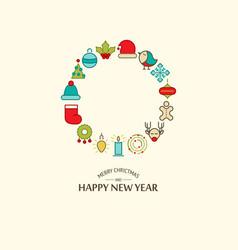 Merry christmas festive round template vector