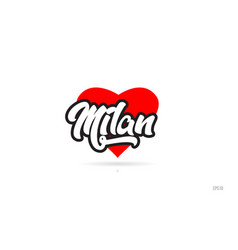 Milan city design typography with red heart icon vector