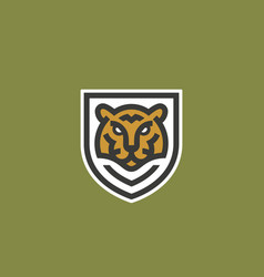 minimalist line style tiger face shield abstract vector image