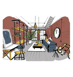 Modern living room interior in loft style hand vector