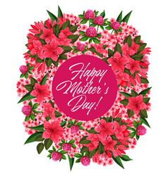 Mother day pink flower wreath greeting card design vector