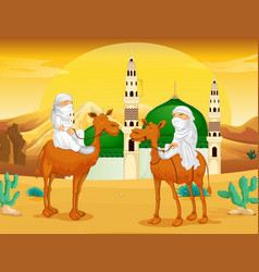 muslim men on camels in the desert vector image