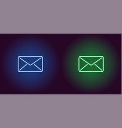 neon icon of blue and green mail vector image