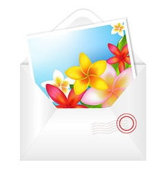 Open Envelope With Flowers Card vector image