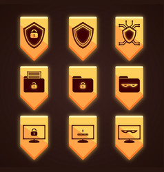 Orange icons for antivirus a set of icons for vector