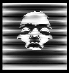 parallel line art face african woman portrait vector image