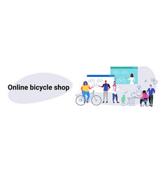 people doing online shopping bicycle web shop vector image