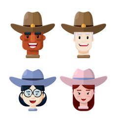 people wearing cowboy hats flat icon set vector image