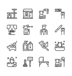 Pet grooming shop icon set vector