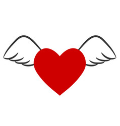 Red heart with wings for valentines day stock vector