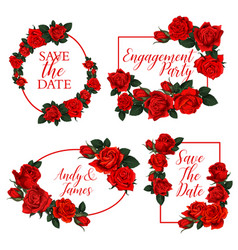 red rose flower frame wedding invitation design vector image