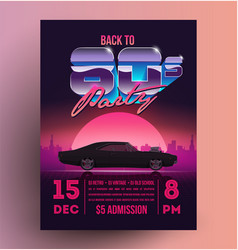 Retro vintage 80s night party promotion flyer vector