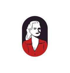 retro vintage woman beauty face silhouette logo vector image