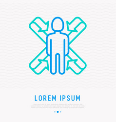 Scanning of human body mri thin line icon vector