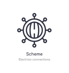 Scheme outline icon isolated line from electrian vector