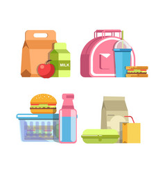 School lunches in special containers and inside vector