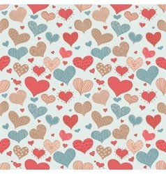 Seamless Pattern Romantic Love Hearts Retro Sketch vector image
