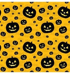 Seamless pattern with black pumpkins vector image