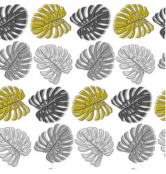 seamless pattern with gray monstera leaves on vector image