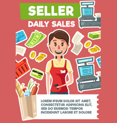 seller profession hiring shop assistant vector image