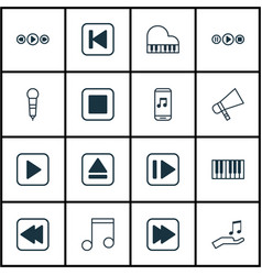 set of 16 music icons includes stop button note vector image vector image