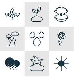 Set of 9 nature icons includes sprout sunshine vector