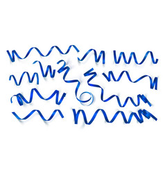 set realistic dark blue ribbons on white vector image