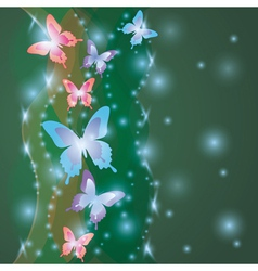 Shining colorful background with butterflies vector image