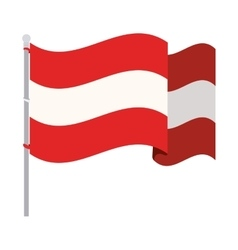 silhouette color with waving flag of austria vector image