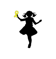 Silhouette girl with yellow ribbon world chilhood vector