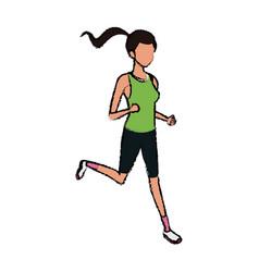 sport girl run athletic fitness vector image
