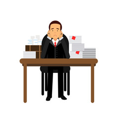 Stressed businessman character has a lot of work vector