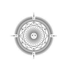 sun mystic icon sacred geometry sign logo mandala vector image