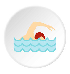 Swimmer crawling in pool icon circle vector