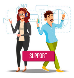 Technical support operator at work online vector