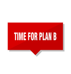 time for plan b red tag vector image