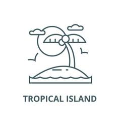 tropical beach island line icon linear vector image