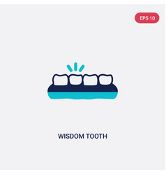 Two color wisdom tooth icon from dentist concept vector