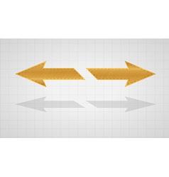 Two inverse gold arrows vector