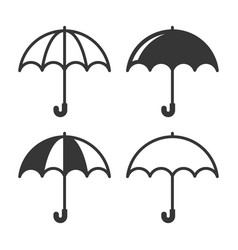 umbrella simple icons set on white background vector image