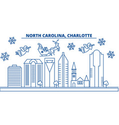Usa north carolina charlotte winter city vector