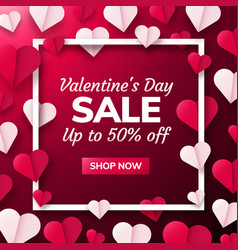 valentines day background with paper origami vector image