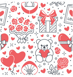 Valentines day pink seamless pattern love vector
